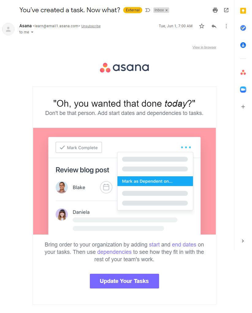 Email onboarding sequence from Asana
